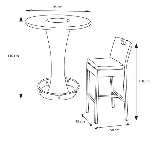 Bar table design dimensions photograph shema table bar et - Dimensions table a manger ...