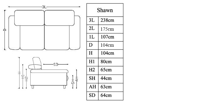 Dimensions canap� 3 places Shawn