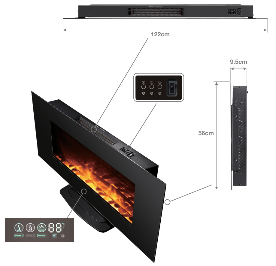 Dimension cheminee black kamin xl 480