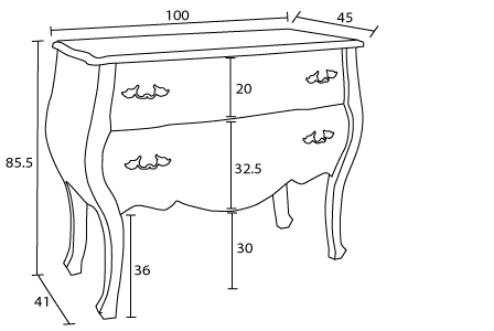 Dimensions commode Classik