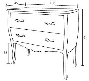 dimensions commode Damian 2 tiroirs