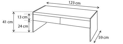 dimensions table basse Crystalline