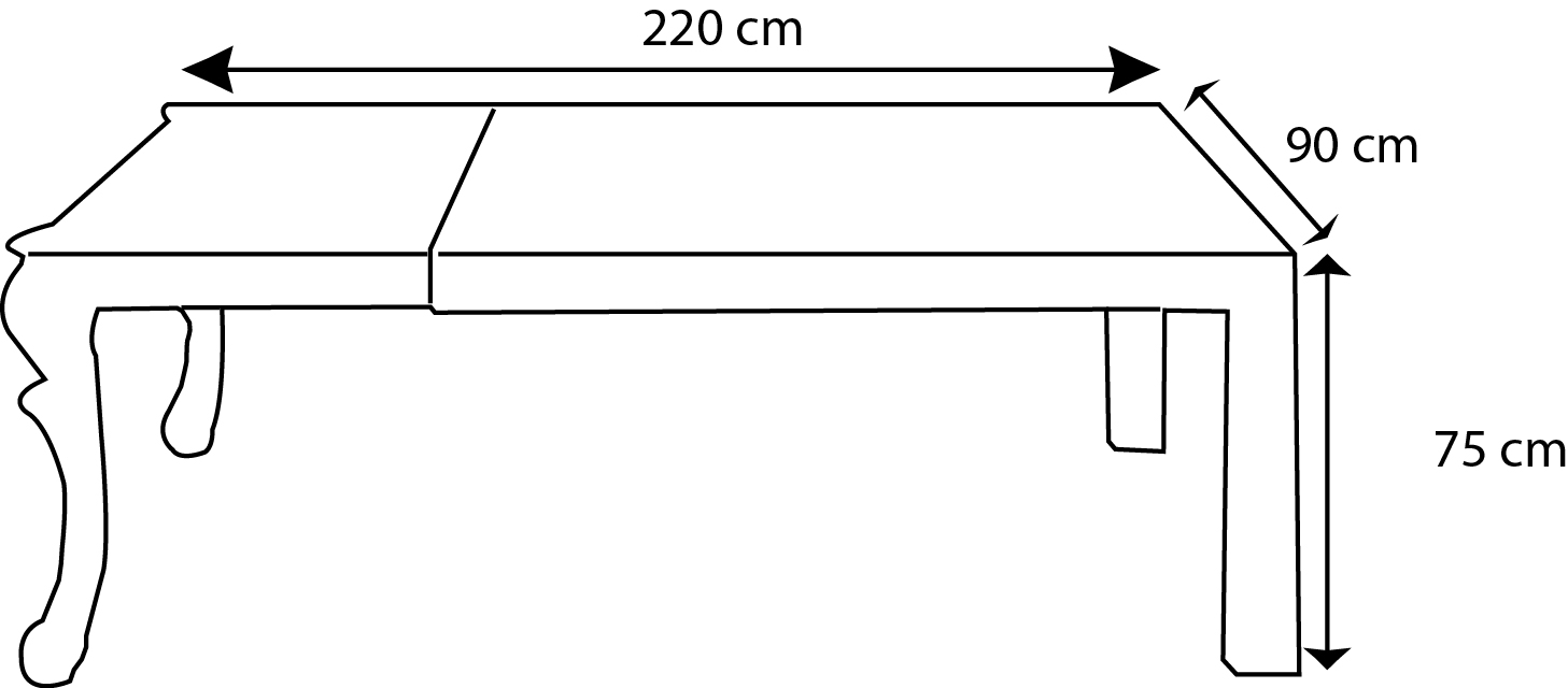 Table dimensions hauteur for Hauteur d une table a manger