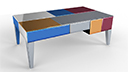 Table basse design miroirs multicolores Mona