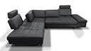 Canape d'angle relax en cuir avec dossiers modulables - Matheo