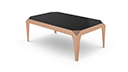 Table basse rectangulaire pieds couleur or rose - Dixies