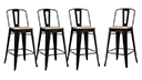 Lot de 4 tabourets tôle design industriel assise 79cm - La Marcelle