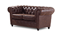 Canapé Chesterfield vintage 2 places aspect cuir vieilli - Liverpool