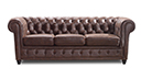 Canapé Chesterfield 3 places vintage aspect cuir vieilli - Liverpool