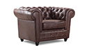 Fauteuil Chesterfield vintage aspect cuir vieilli - Liverpool