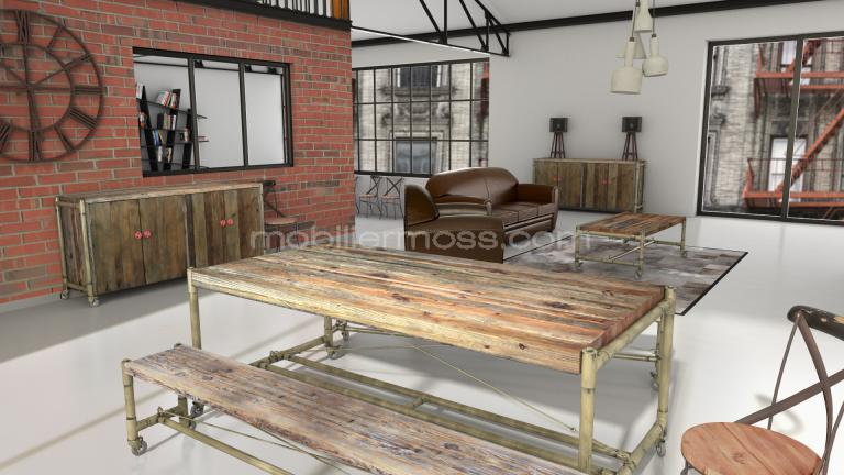 banc en fer et bois factory mobilier moss. Black Bedroom Furniture Sets. Home Design Ideas