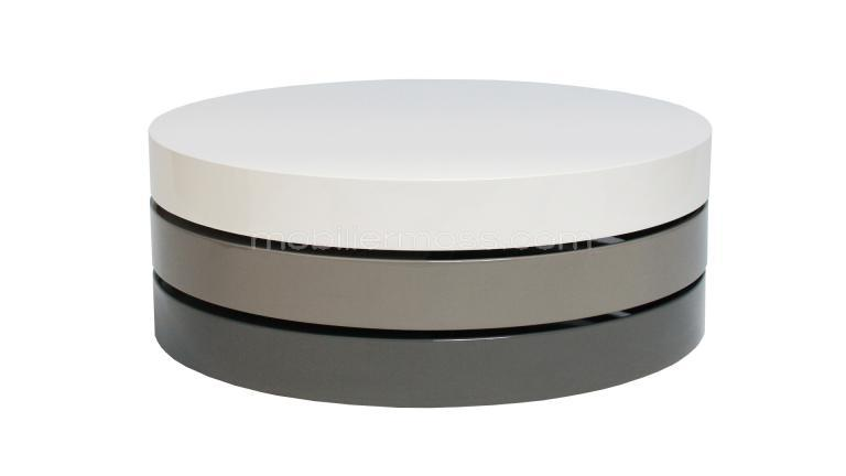 Table basse ronde plateaux blancs gris aranel for Table de salon ronde design