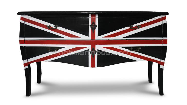 Commode style drapeau london en bois english mobilier moss for Canape meaning in english