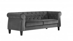 Canap 3p chesterfield velours B24gris Eriko
