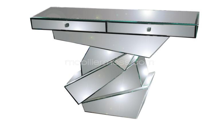 Console 2 tiroirs strate en miroir for Console meuble design
