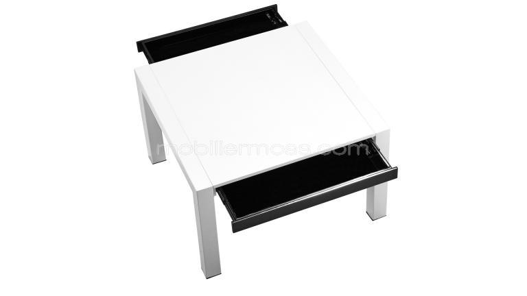 Table de salon carr e extensible design eracia mobilier moss - Table blanche carree avec rallonges ...