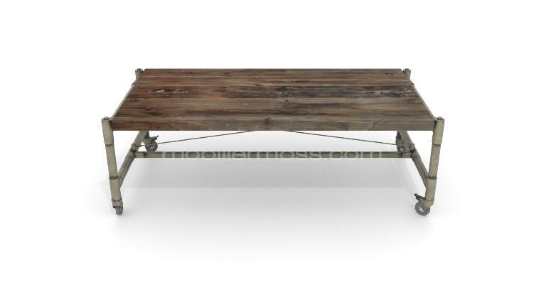 Table basse industrielle en bois et fer factory mobilier for Table basse style loft