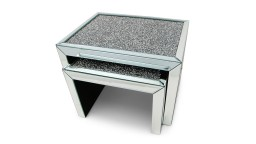 Table basse gigogne en miroir et faux diamants
