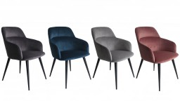 Lisbonne chaises contemportaine velours piedsnoir