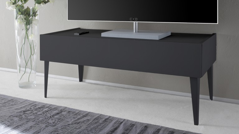 meuble tv 2 tiroirs galatik laqu gris mat mobilier moss. Black Bedroom Furniture Sets. Home Design Ideas