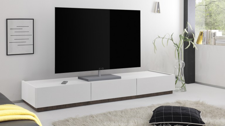 meuble tv 3 tiroirs galatik laqu blanc mat mobilier moss. Black Bedroom Furniture Sets. Home Design Ideas