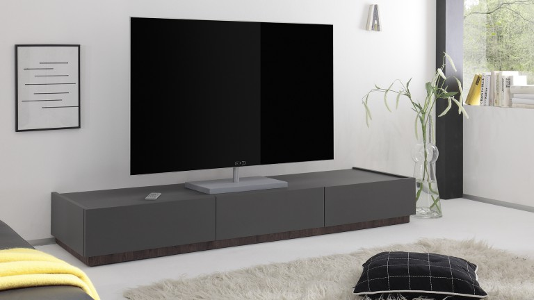 meuble tv galatik laqu gris mat avec 3 tiroirs mobilier moss. Black Bedroom Furniture Sets. Home Design Ideas