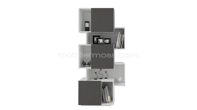 Oraly etagere bibliotheque blanc gris mobilier moss