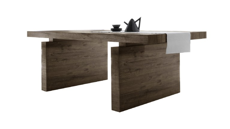 Table de salle manger rectangulaire wenge galatik for Table salle a manger gain de place