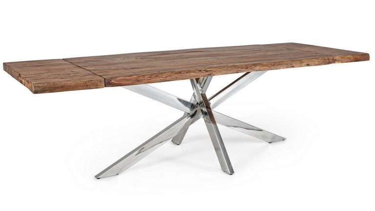 Verone Table manger extensible bois massif pieds chrom s mobilier moss