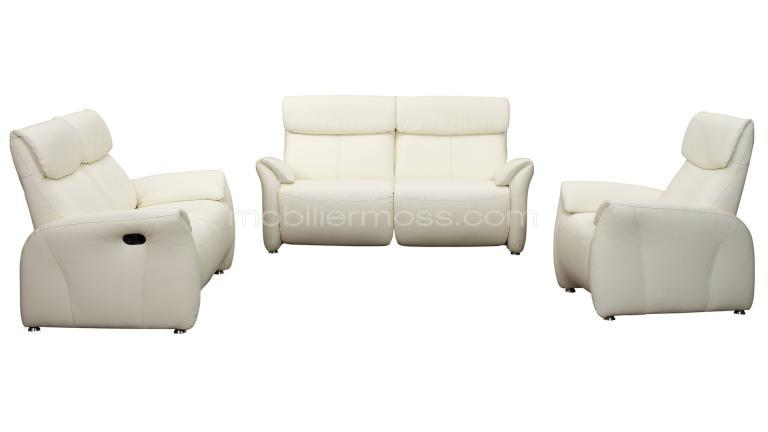 Salon design ohio 2 canap s 2 places fauteuil mobilier moss - Salon relax electrique ...