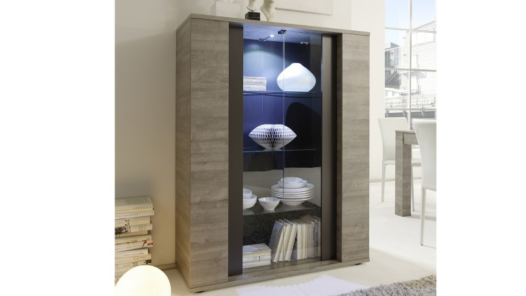 vitrine shepparton 2 portes verre avec clairage led mobilier moss. Black Bedroom Furniture Sets. Home Design Ideas