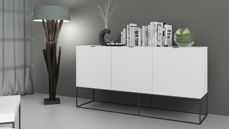 bahut design blanc avec pieds m tal noir kufstein. Black Bedroom Furniture Sets. Home Design Ideas