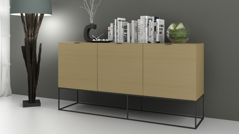 bahut design couleur ch ne avec pieds m tal noir kufstein mobilier moss. Black Bedroom Furniture Sets. Home Design Ideas