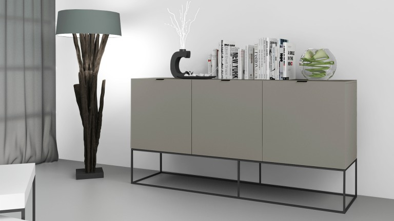 bahut design gris avec pieds m tal noir kufstein. Black Bedroom Furniture Sets. Home Design Ideas