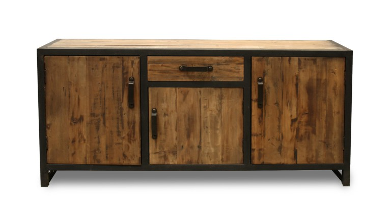 aparador de madera y metal 3 puertas estilo industrial koroco. Black Bedroom Furniture Sets. Home Design Ideas