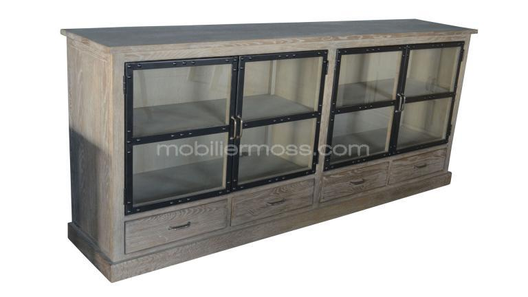 gran aparador chartier 4 puertas acristaladas 4 cajones de madera y metal mobi. Black Bedroom Furniture Sets. Home Design Ideas