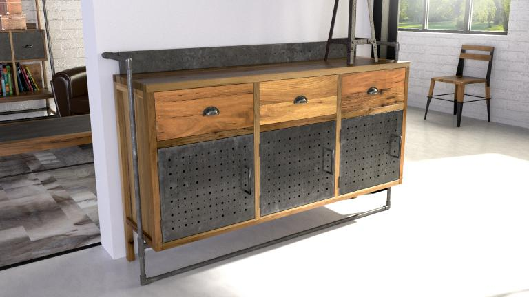 sutton buffet de style industriel en bois et m tal mobilier moss. Black Bedroom Furniture Sets. Home Design Ideas