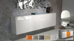 bahut buffet design suspendu blanc halifax avec option porte couleur moss