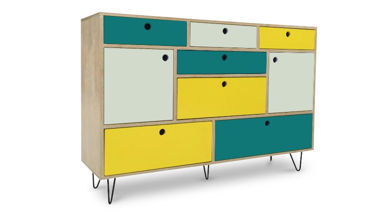 buffet commode jalapa fa ades multicolores 4 tiroirs 5 portes mobilier moss. Black Bedroom Furniture Sets. Home Design Ideas