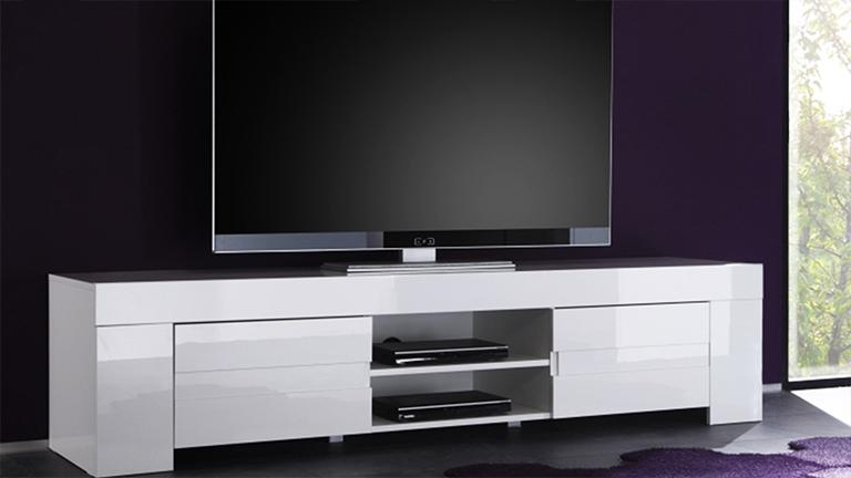 Meuble tv design laqu blanc 190 cm magao mobilier moss for Muebles lacados en blanco baratos