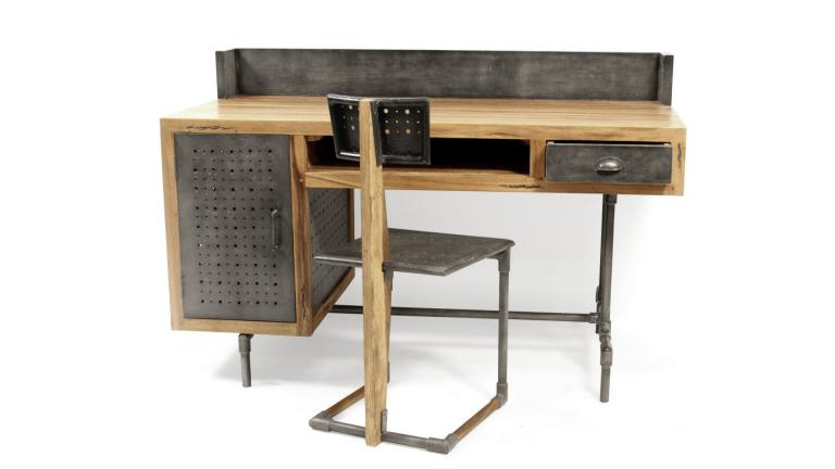 bureau belfast de style industriel en bois et m tal mobilier moss. Black Bedroom Furniture Sets. Home Design Ideas