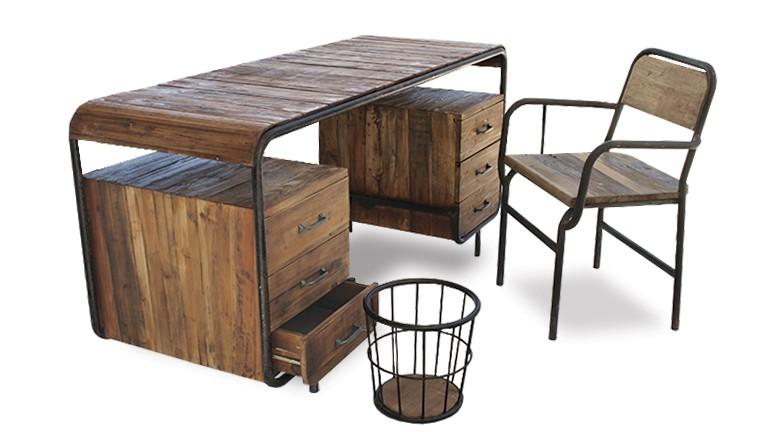 bureau en bois et m tal brighton mobilier moss. Black Bedroom Furniture Sets. Home Design Ideas