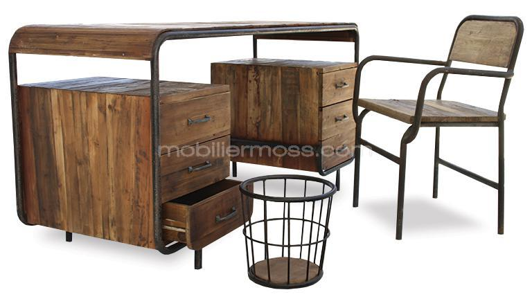 mesa de despacho de madera y metal brighton. Black Bedroom Furniture Sets. Home Design Ideas
