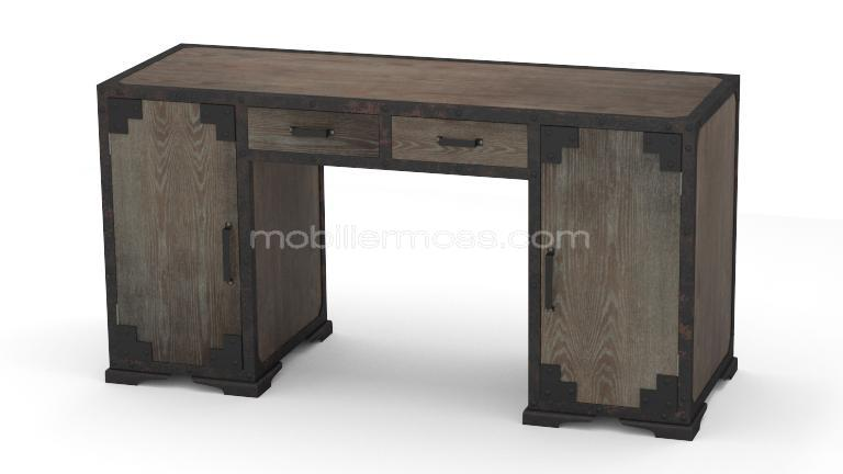 mesa de despacho de estilo industrial en madera y metal. Black Bedroom Furniture Sets. Home Design Ideas