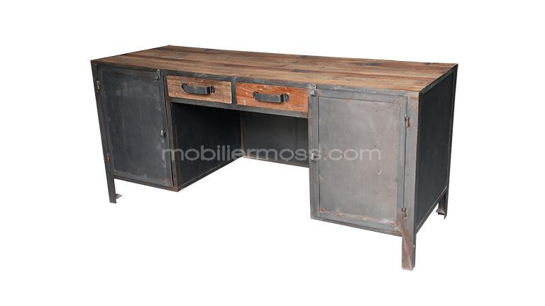 mesa de despacho caruso estilo industrial madera y metal mobiliariomoss. Black Bedroom Furniture Sets. Home Design Ideas