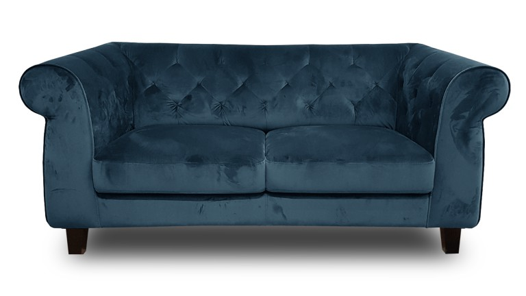 Canap 2 places chesterfield eriko capitonn en velours for Canape chesterfield en velours