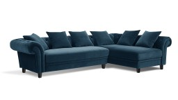 Canape 3 places chesterfield modulable velours bleu borrello mobiliermoss