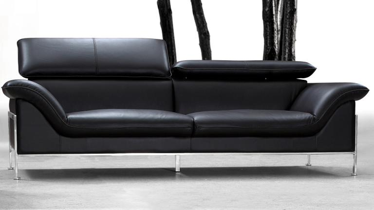 Canap 2 places design pour salon confortable shawn for Canape cuir noir design