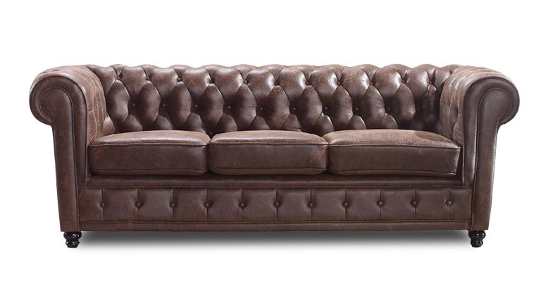 Canap chesterfield liverpool 3 places en tissu mobilier moss - Canape chesterfield rouge cuir ...