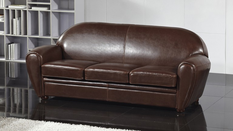 Canap club cuir 3 places ultra confort jazzy mobilier moss - Canape club en cuir ...